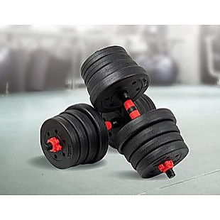 30kg Adjustable Rubber Dumbbell Set Barbell Home GYM Exercise Weights