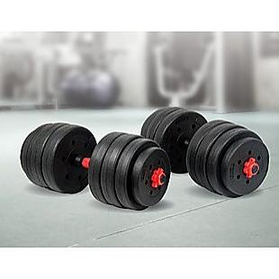 40kg Adjustable Rubber Dumbbell Set Barbell Home GYM Exercise Weights