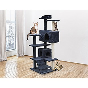 132cm Cat Tree Scratching Post Scratcher Tower Condo House Furniture Wood - Grey
