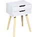 Wooden Bedside Table 2 Drawers Cabinet Storage Tall Night Stand