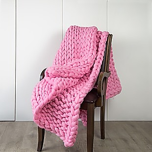 Hand Knitted Chunky Blanket Thick Acrylic Yarn Blanket Home Decor Throw Rug - Pink