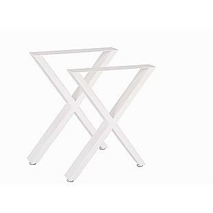 X-Shaped Table Bench Desk Legs Retro Industrial Design Fully Welded - White