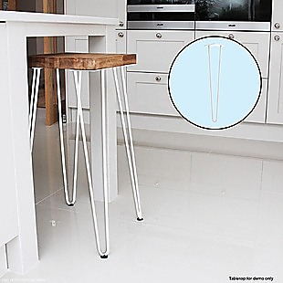 Set of 4 Industrial Retro Hairpin Table Legs 12mm Steel Bench Desk - 71cm White