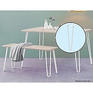 Set of 4 Industrial Retro Hairpin Table Legs 12mm Steel Bench Desk - 41cm White