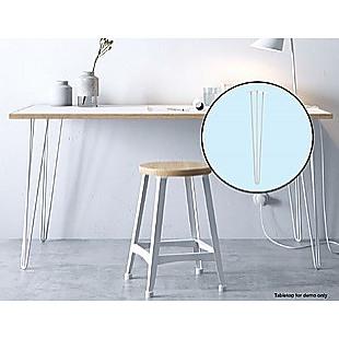 Set of 4 Industrial 3-Rod Retro Hairpin Table Legs 12mm Steel Bench Desk - 71cm White