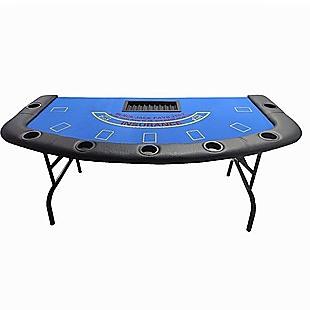 185cm Folded 7 Player Poker Blackjack Table Game Desk W/Cup Holder