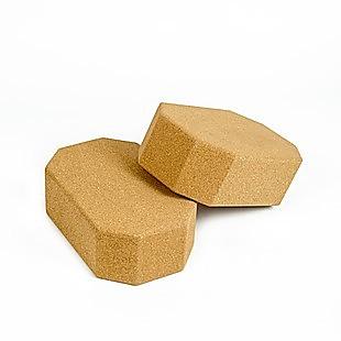 Natural Cork Octagon Yoga Blocks Brick Exercise 2 pcs Set Eco Non-Slip