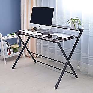 Folding Desk with Shelf Computer Laptop PC Table Side Home Office Furniture