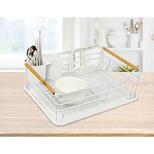 Metal Dish Drying Rack Drainboard Holder Tray Kitchen Plates Cutlery Wood Handle