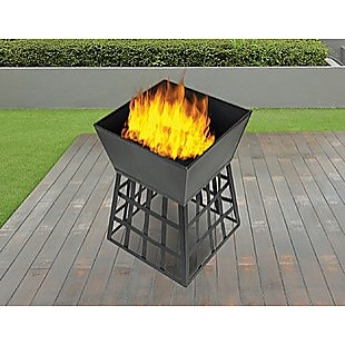 Black Fire Pit Square Log Patio Garden Heater Outdoor Table Top BBQ Camping