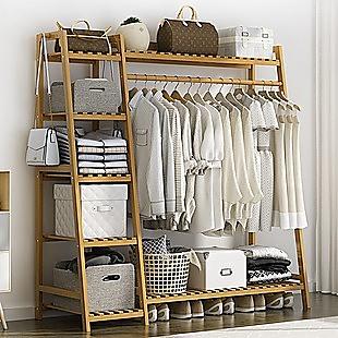 Portable Clothes Rack Coat Garment Stand Bamboo Rail Hanger Airer Closet