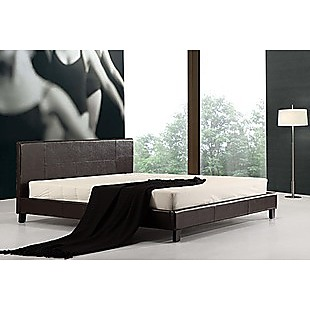 King PU Leather Bed Frame Brown