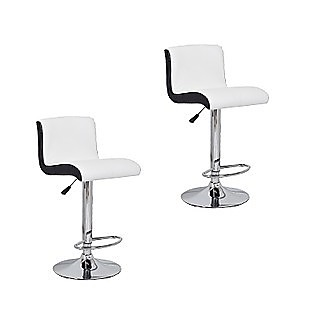 2x Black & White PU Leather Kitchen Bar Stools Modern Design