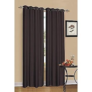 2 x Chocolate Brown 100% Blockout Eyelet Curtains 240cm x 230cm (Drop)