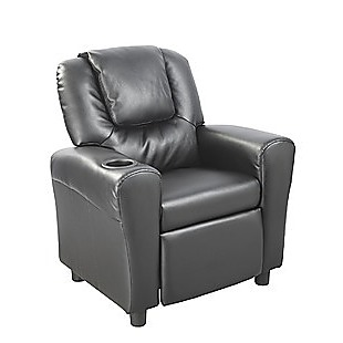 PU Leather Kids Recliner with Drink Holder