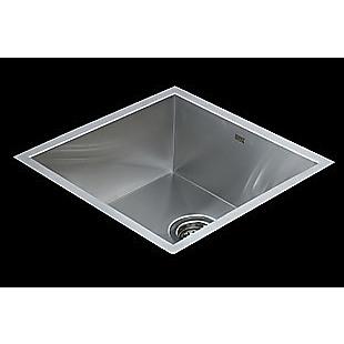 440x440mm Handmade Stainless Steel Undermount / Topmount Kitchen Laundry Sink with Waste