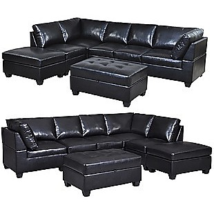 2.8m PU Leather Lounge Suite Couch Sofa Ottoman Set