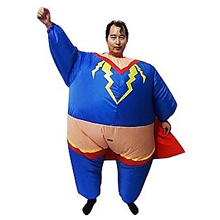 Super Hero Fancy Dress Inflatable Suit - Fan Operated Costume